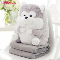 午睡枕头汽车抱枕被子两用靠垫被大号空调被靠枕珊瑚绒毯