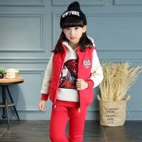 女童冬装马甲三件套2018新款韩版儿童秋装4-5-6-7岁加绒加厚套装