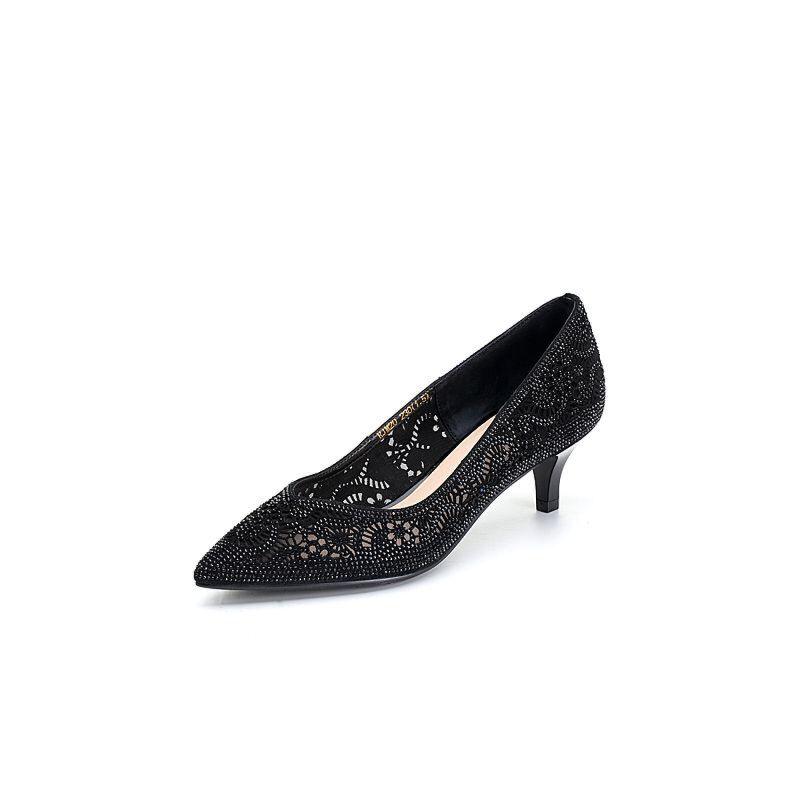 BASTO/百思图2018春季专柜同款羊皮水钻浅口细跟女单鞋RJM20AQ8