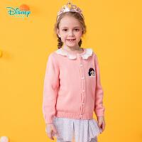 【2件3折到手价:73.5】迪士尼Disney童装 小公主甜美针织衫女童纯棉开衫秋季新品蕾丝花边毛衣193S1261