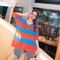 2018夏季时尚韩版宽松个性撞色条纹薄款针织衫七分袖罩衫女潮 均码