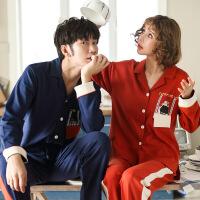 韩版情侣睡衣长袖春秋季薄款全棉睡衣女款男士夏季家居服套装