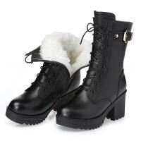 羊毛靴女棉鞋真皮短靴高跟中筒靴粗跟英伦风马丁靴女中跟防水真皮 黑色 【羊毛内里】 【288】