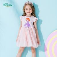 【3件3折到手价:70.8】迪士尼Disney童装 女童裙子索菲亚公主小飞袖连衣裙2019夏季新品女孩网纱裙192Q6