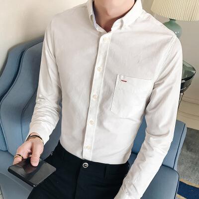 男装春季新款牛津纺韩版纯色衬衣男士休闲修身长袖衬衫