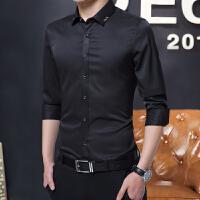 弹力免烫秋季男士长袖衬衫修身青年商务衬衣韩版伴郎结婚婚礼寸衫 黑色 H5 M