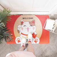 日式卡通猫圈丝进门地垫入户门垫刮泥脚垫厨房卫生间防滑垫子