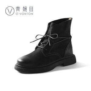 青婉田2018新款短靴粗跟马丁靴女英伦风女鞋学生复古女靴春单靴