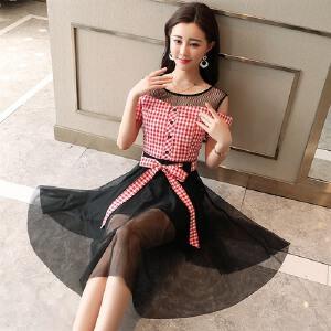 风轩衣度 连衣裙高腰圆领套头2018年夏季短袖中裙时尚都市气质个性时尚都市 2278-1887