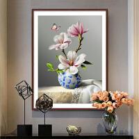 3D餐厅十字绣2018新款客厅小幅简单线绣小件花卉欧式卧室简约现代 3D版 精准印花 品质棉线【50*65cm】送全套