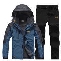 冲锋衣男女三合一两件套抓绒透气防风保暖登山滑雪服