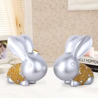 树脂摆件 创意情侣兔家居装饰品摆设 储钱罐生日结婚礼物 图片色