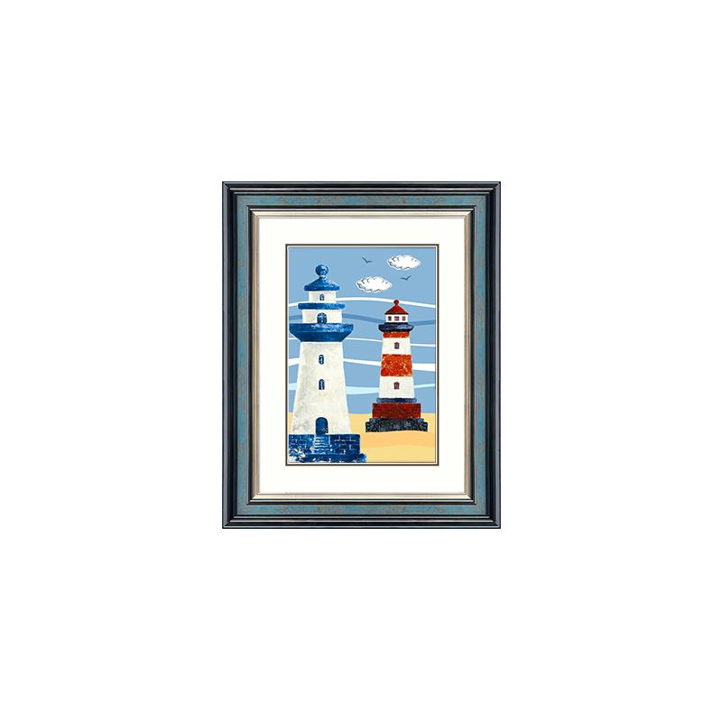现代简约美式男孩儿童房装饰画欧式地中海卧室床头画壁画挂画灯塔 一般在付款后3-90天左右发货,具体发货时间请以与客服协商的时间为准