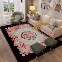 地毯客厅茶几毯欧式简约现代沙发地毯卧室床边毯珊瑚绒地垫可机洗 咖啡色 玫瑰花-咖啡色
