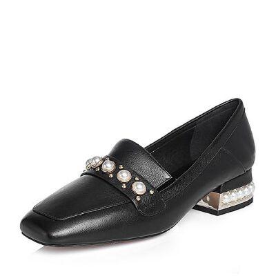 BASTO/百思图2018春季专柜同款牛皮珍珠浅口方头乐福鞋女单鞋EA603AQ8
