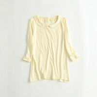 女秋冬针织衫 娃娃领7分袖全棉打底衫学院风衬衫25C