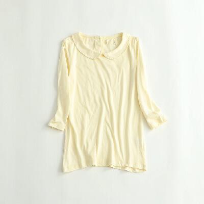 女秋冬针织衫 娃娃领7分袖全棉打底衫学院风衬衫25C 发货周期:一般在付款后2-90天左右发货,具体发货时间请以与客服商的时间为准