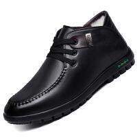 男士保暖棉鞋真皮羊毛皮鞋冬季舒适中老年防滑加厚系带商务式休闲
