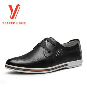 意尔康男鞋2017新款春季新款男士商务休闲皮鞋圆头系带平跟单鞋