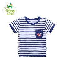 迪士尼Disney童装夏季宝宝衣服肩开条纹上衣婴儿短袖T恤162S798