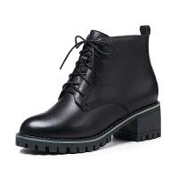 秋冬鞋子2018新款真皮粗跟短靴女中跟英伦皮鞋中年马丁靴短筒女靴真皮