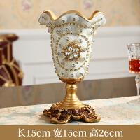 餐桌花瓶摆件复古欧式客厅家具装饰品电视柜插花创意家居摆设 金色 镶钻小花瓶