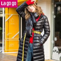 【618大促-每满100减50】Lagogo2017冬季新款黑色可脱围脖领显瘦羽绒服女中长款过膝白鸭绒