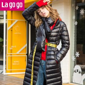 【清仓3折价219.9】Lagogo2019冬季新款黑色可脱围脖领显瘦羽绒服女中长款过膝白鸭绒