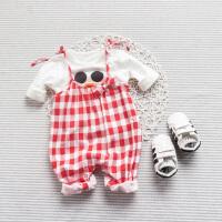 女宝宝春季春装可爱长袖上衣0-4个月男童潮款外出服婴幼儿T恤夏款