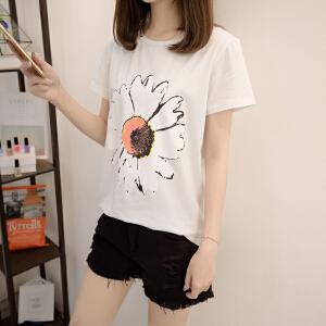 新款韩版潮流时尚学生闺蜜短袖t恤女夏装百搭菊花印花打底衫
