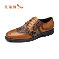 【红蜻蜓领�涣⒓�150】红蜻蜓真皮布洛克皮鞋秋冬新款正品迷彩英伦绅士头层牛皮