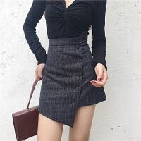 秋季新款chic复古时尚格子高腰百搭不规则单排扣半身短裙包臀裙女