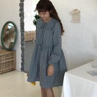 春夏2018新款韩版学院风复古格子连衣裙女宽松显瘦系带娃娃领短裙