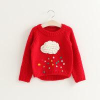 2018春装新款韩版男童女童男童女童云朵粗线纯棉针织毛衣A6-A14