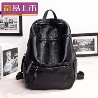 2018书包双肩包女韩版新款背包潮配真皮时尚软皮大容量旅行包 黑色