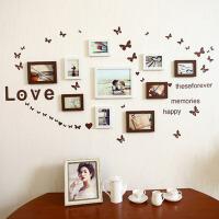 创意时尚相片墙 相框组合 相框墙送LOVE墙贴 实木贴纸相框