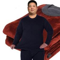加肥加大码纯色保暖套装加绒加厚肥佬胖子保暖内衣特大号