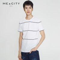 【1件2.5折到手价:42.3】MECITY男装休闲纯棉条纹圆领男短袖T恤潮流