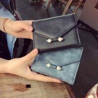 日韩版钱包女短款清新珍珠小钱包零钱包2018新款文艺学生简约皮夹