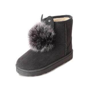 WARORWAR 2019新品YM165-8807冬季韩版磨砂绒平底鞋舒适兔耳朵毛球女鞋潮流时尚潮鞋百搭潮牌雪地靴