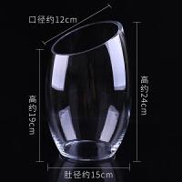 桌面水培多肉容器花盆 斜口透明玻璃花瓶 水养花卉绿植 简约 中等