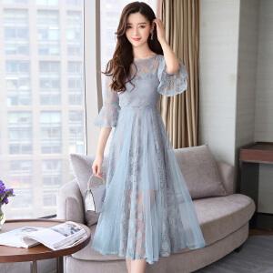 风轩衣度 2018年夏季新款蕾丝韩版气质纯色百搭长袖中长款修身显瘦连衣裙 2133-8908