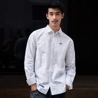 男长袖翻领男士休闲纯色港风白色衬衣外套