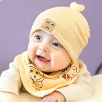 婴儿帽子0-3-6-12个月男女宝宝帽子新生儿柔棉胎帽棉布套头帽春秋