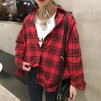 春装新款翻领格子百搭衬衫韩国中长款宽松显瘦长袖上衣女学生