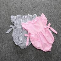 夏季婴儿连体衣服0-1岁半女宝宝爬行服3个月新生儿套装2夏装6薄款