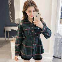 格子衬衫女韩版春装新款修身百搭中长款POLO领长袖上衣衬衣潮