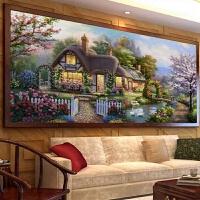 印花十字绣客厅欧式风景画别墅花园小屋梦幻家园 中格3股 150*74厘米 棉线