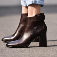 2018新款粗跟靴子秋季女鞋及踝靴马丁靴裸靴棕色高跟短靴女靴