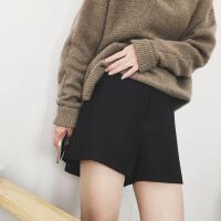 秋冬季新A字毛呢短裤女高腰外穿休闲阔腿裤加厚显瘦打底靴裤 黑色